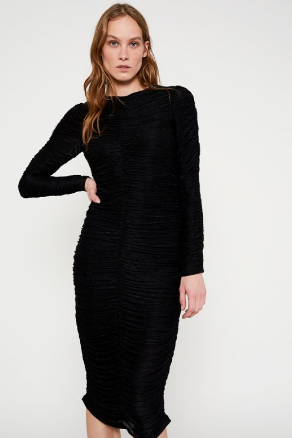 BLACK STRIPED TEXTURED FITTED MIDI DRESS WITH DRAPE EFFECT